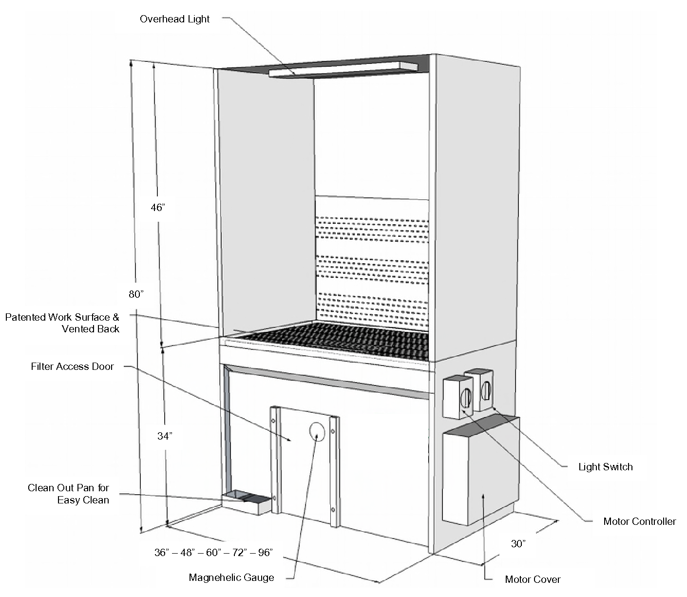 TB series vented-back downdraft booth technical drawing