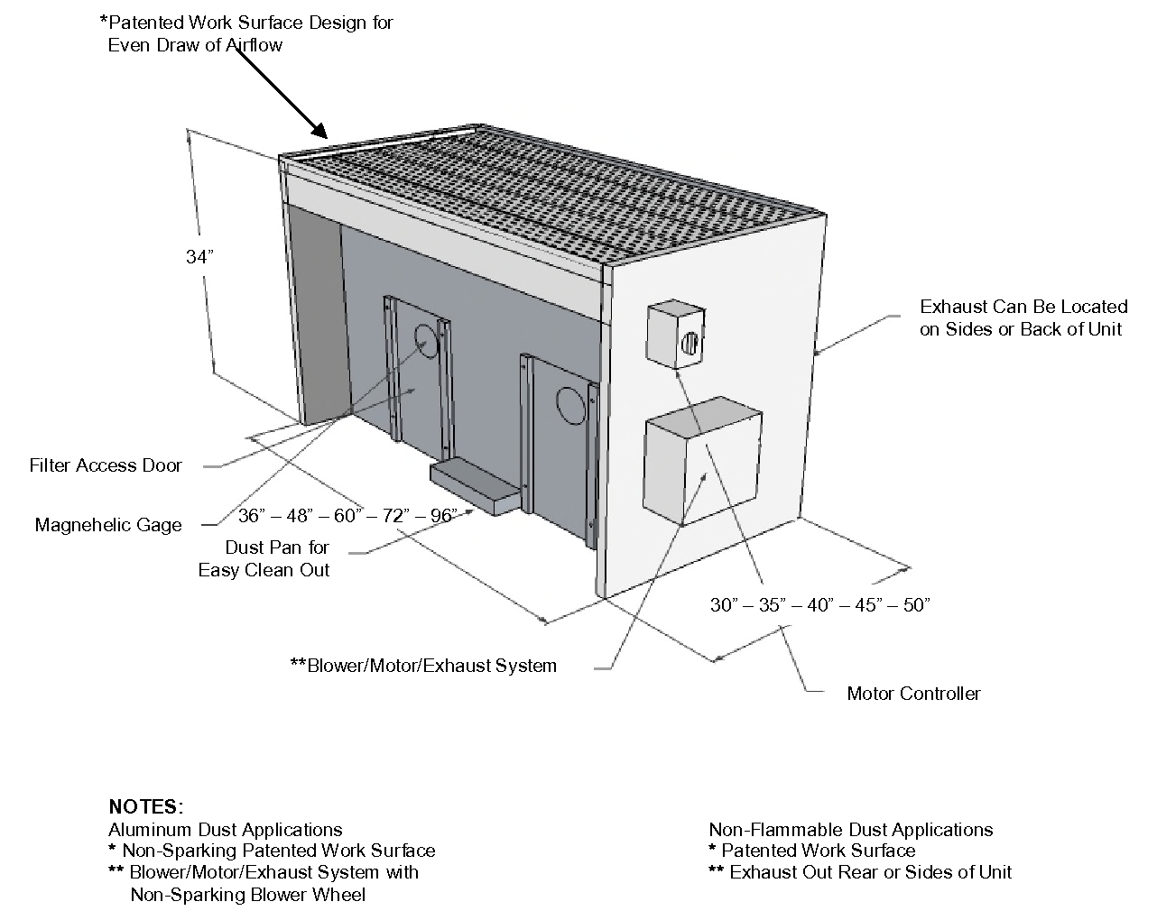 FT-series flat-top downdraft table technical diagram