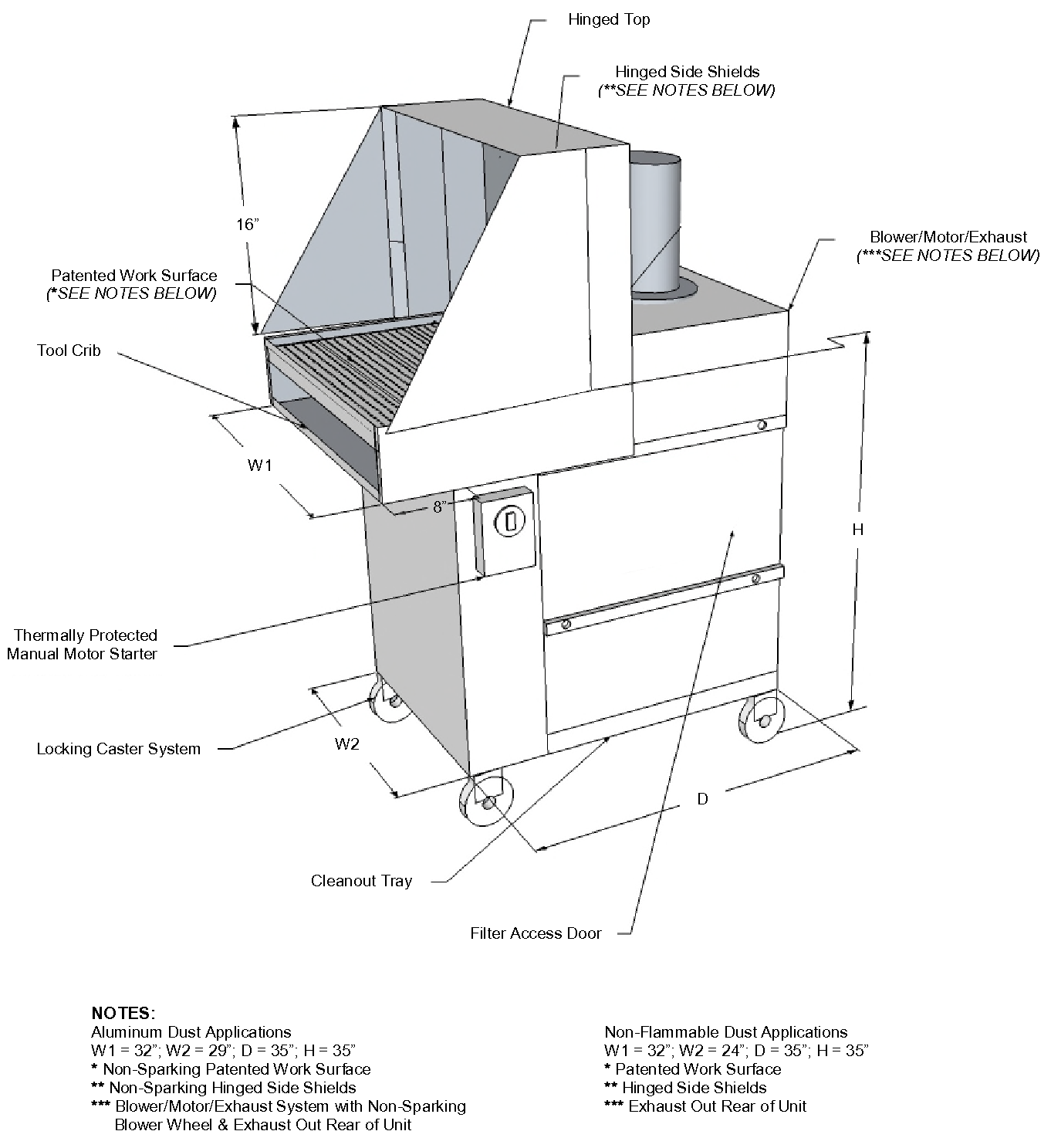 PT2032 portable downdraft table technical drawing