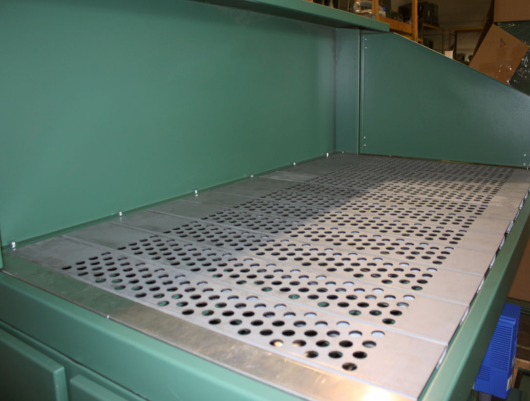 APB downdraft table work surface with hinged door open