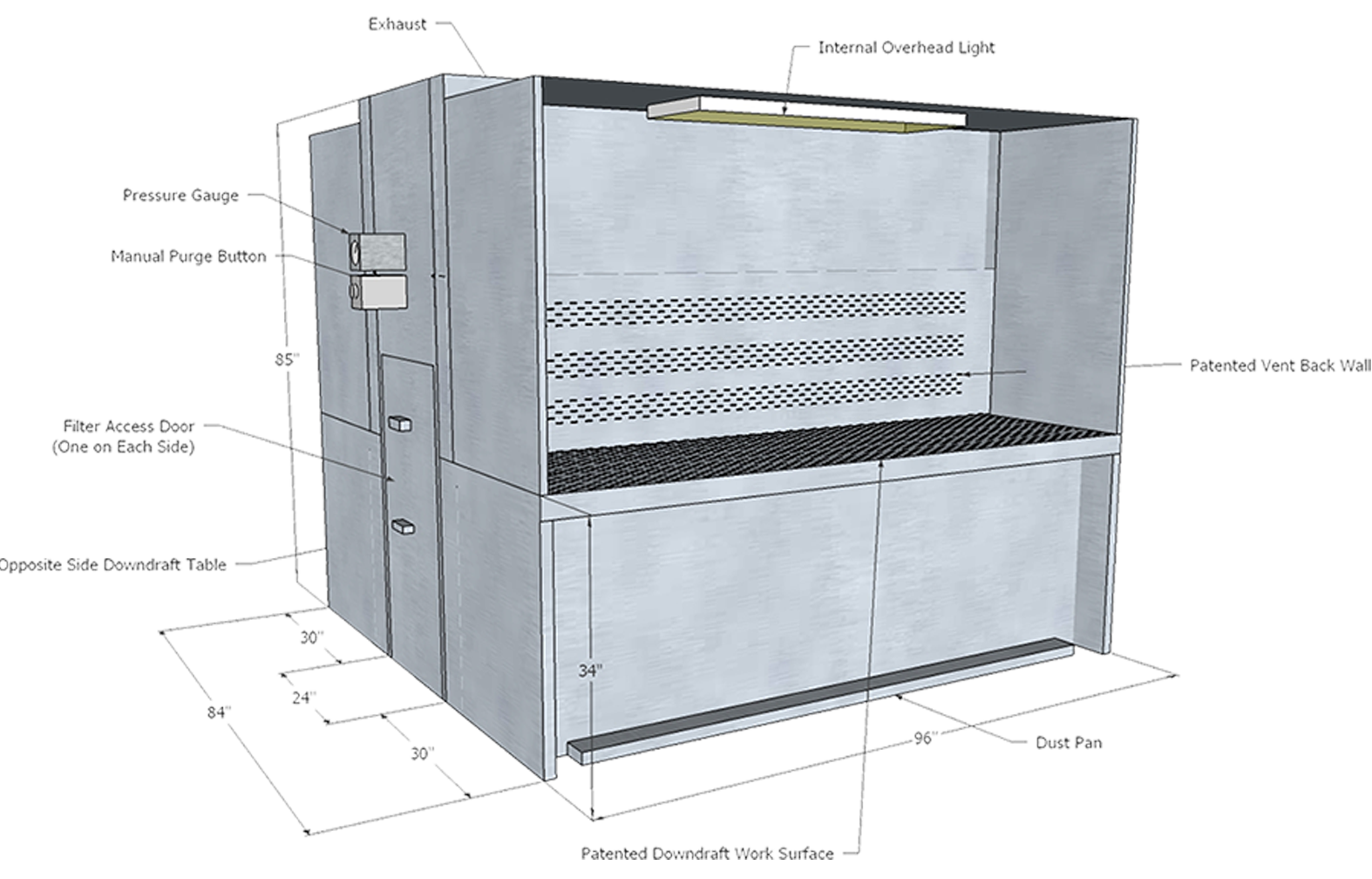 Double-sided downdraft booth with vented back technical diagram
