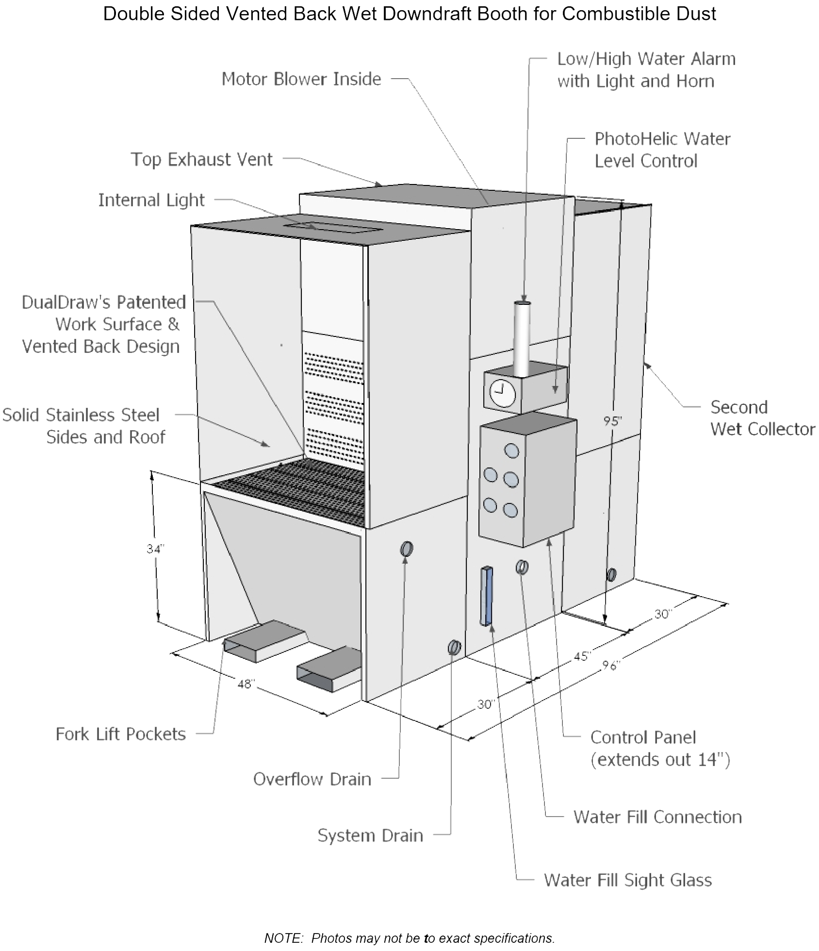 double-sided downdraft booth technical diagram