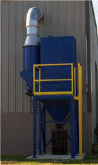 VCDF vertical cartridge downflow collector installed outside of production facility