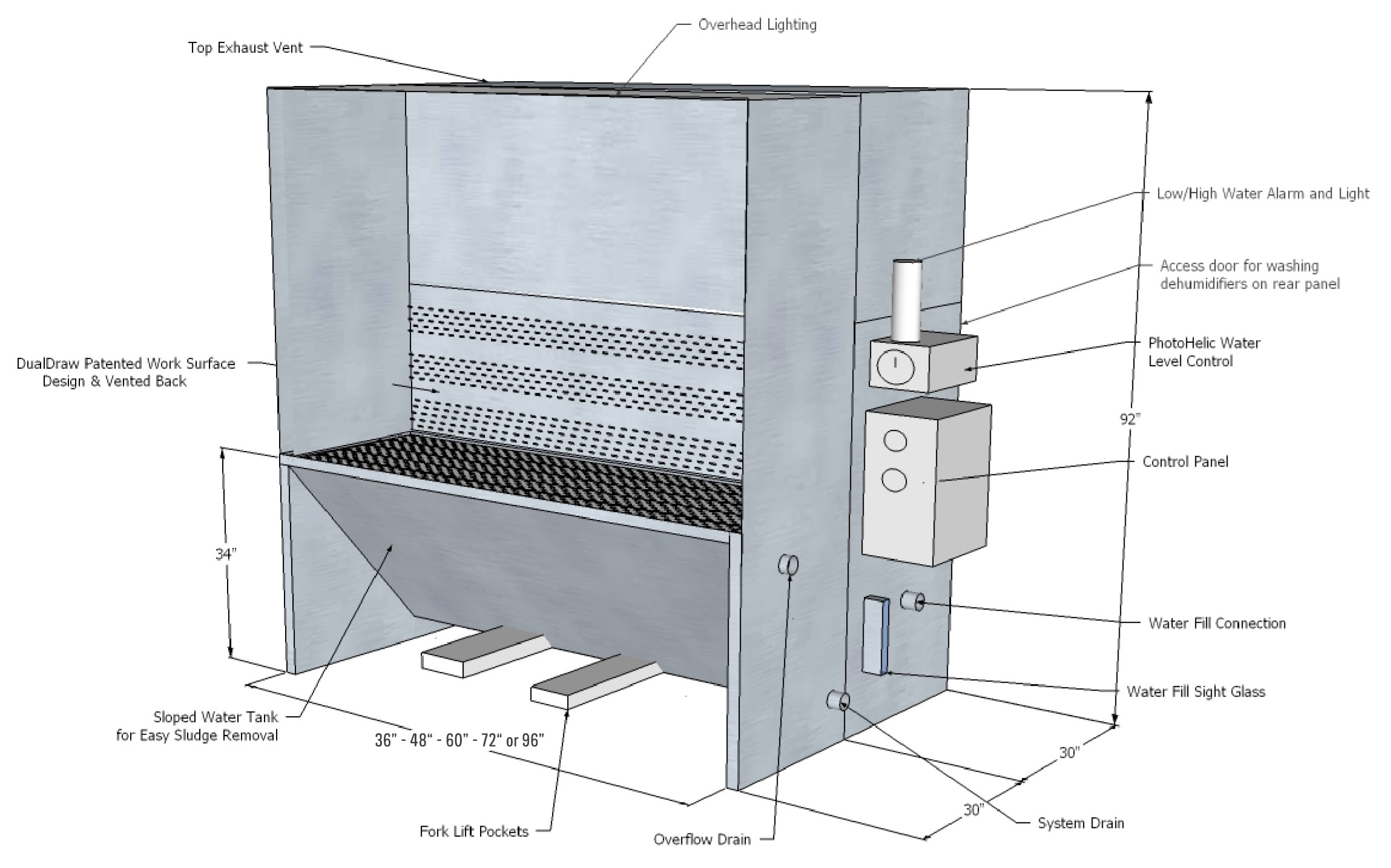 Vented-back Wet Downdraft Booth Technical Drawing