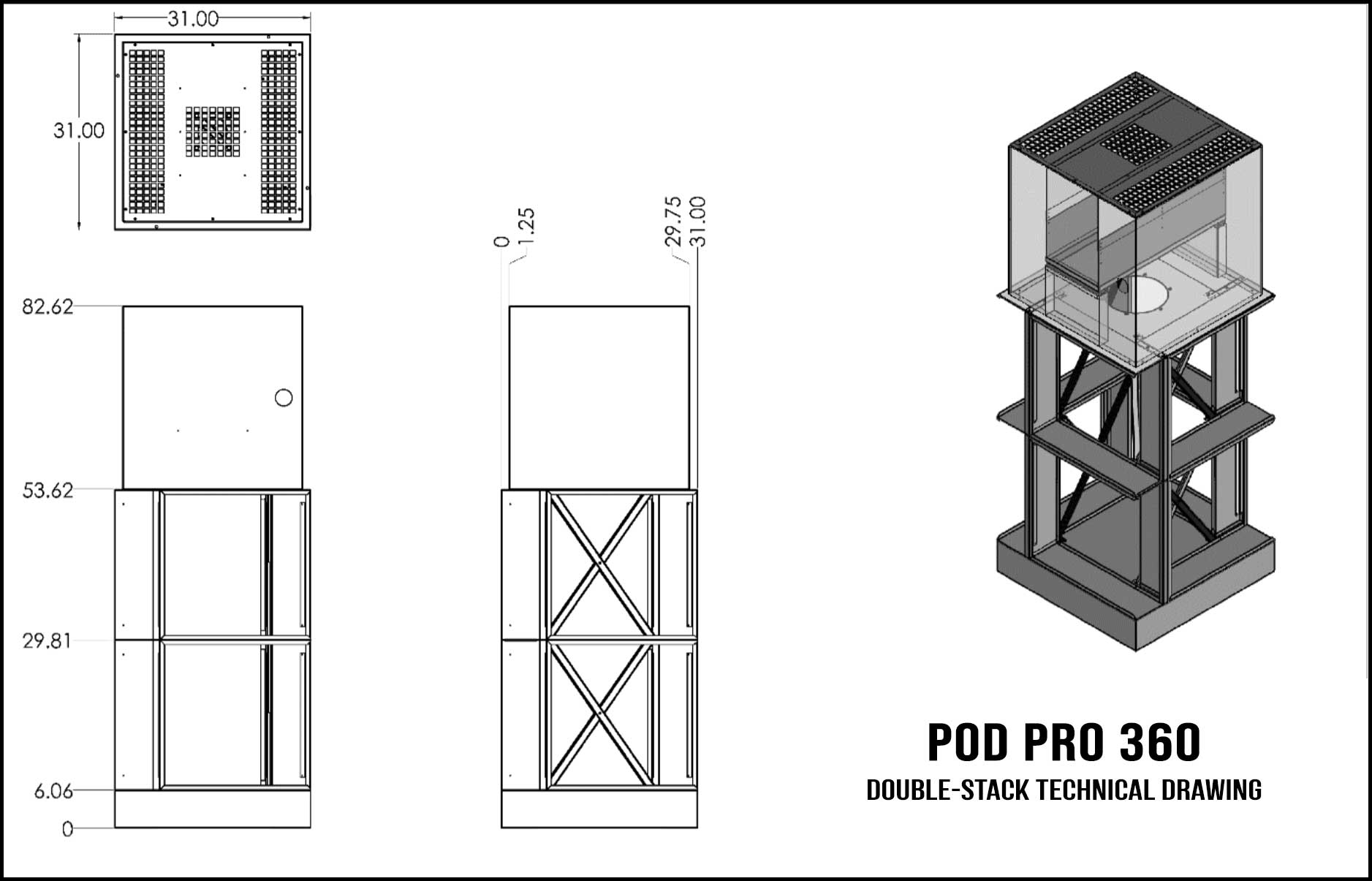 Pod Pro 360 Double-Stack Technical Drawing