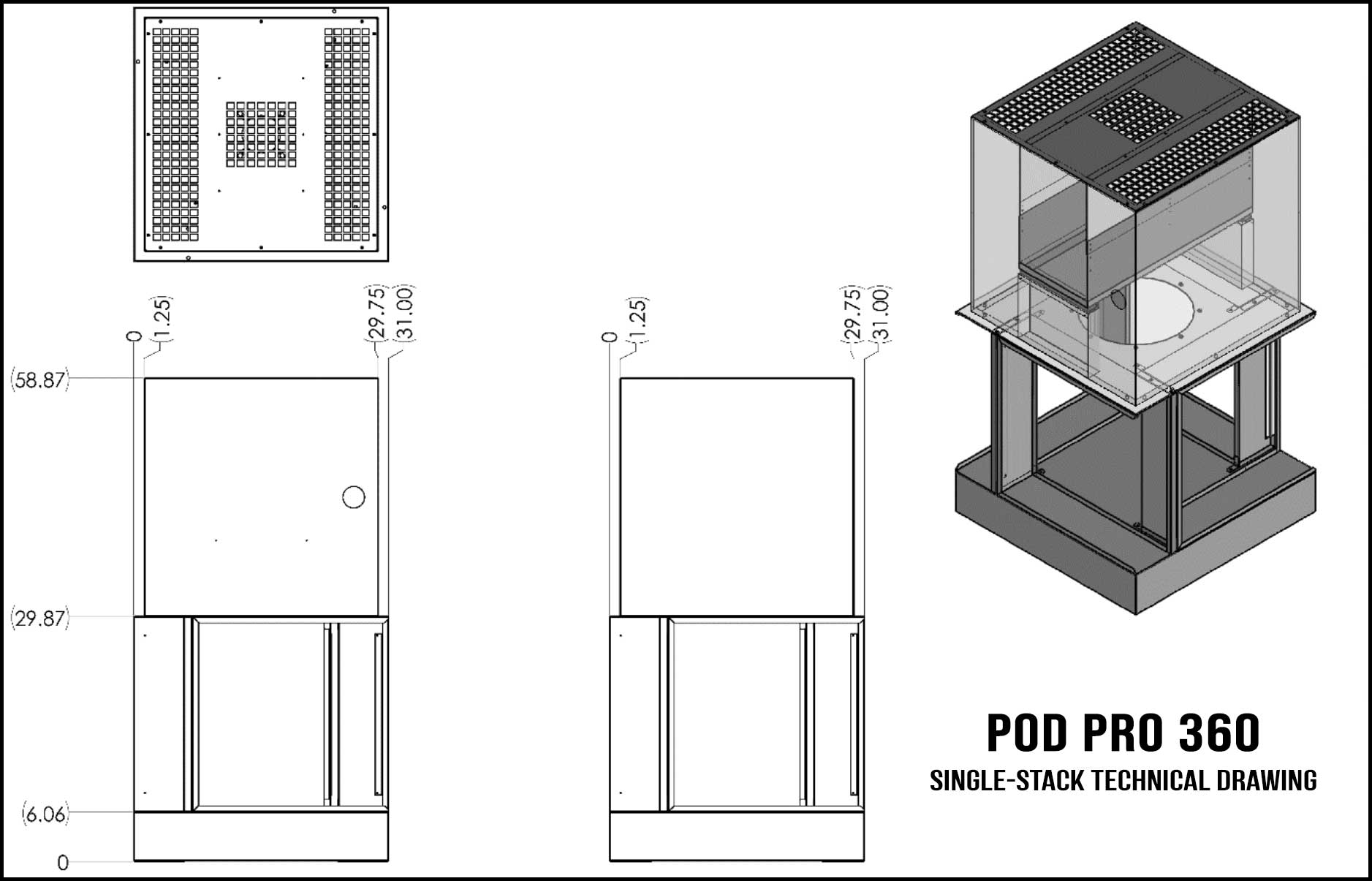 Pod PRO 360 Single-Stack Technical Drawing
